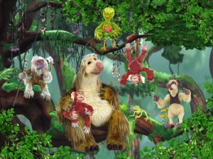 PBS IT'S A BIG BIG WORLD  Group shot in branches